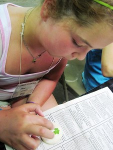 What camp would be complete without bringing home something crafty!  Cloe Works diligently on her leaf pressing clay medallion.