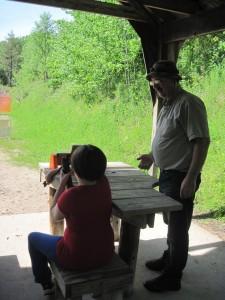 Sarah loading gun